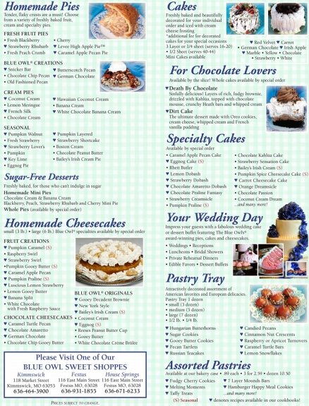 Desserts Pies Cakes & Cheesecakes